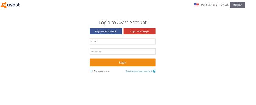 Avast account