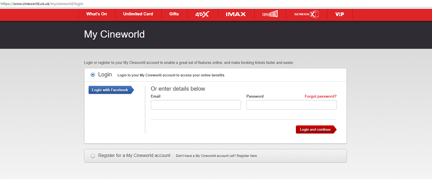 My Cineworld login