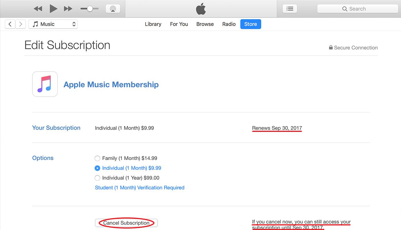 cancel apple music