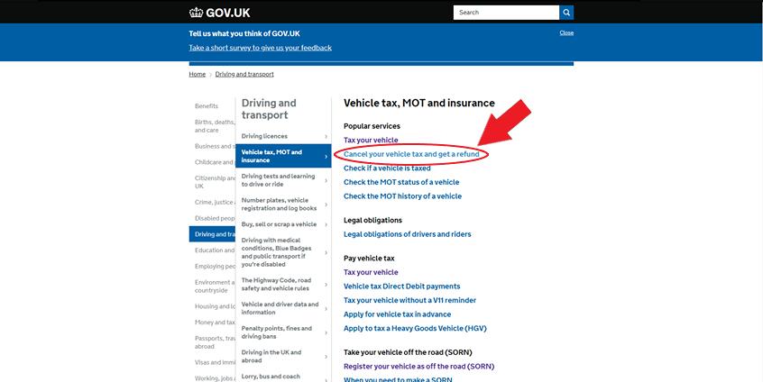 car tax cancel online