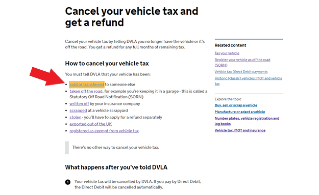 car tax cancel online