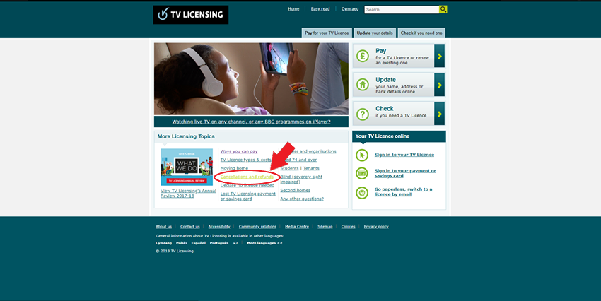 tv licence cancel online