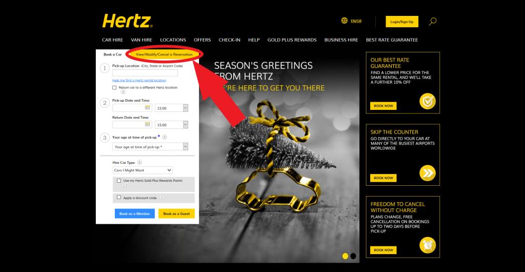 cancel hertz reservation step 2