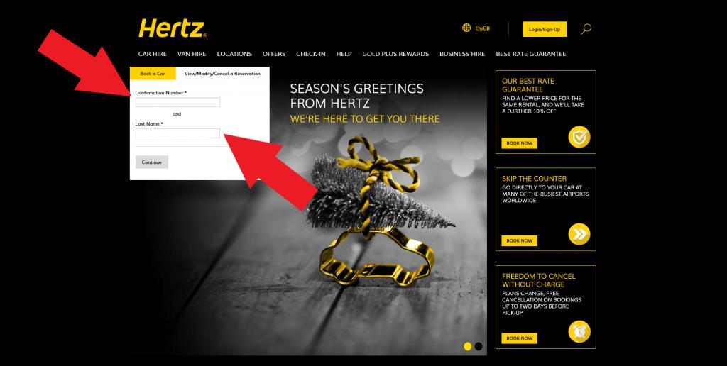 cancel hertz reservation step1