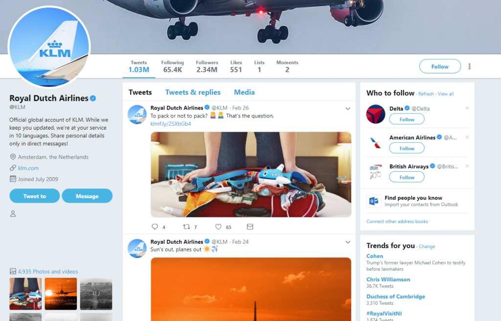 KLM Cancel Flight Twitter
